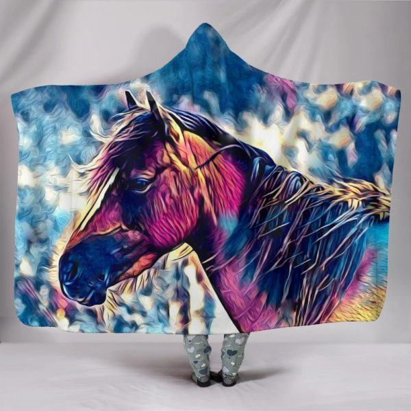 Colourful Painting Horse Head Hooded Blanket