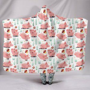 Cute Cartoon Running Pigs Hooded Blanket