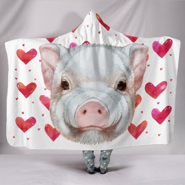 Cute Pig Head with Heart Valentine Hooded Blanket
