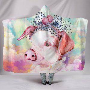 Cute Rainbow Painting Female Pigs Hooded Blanket