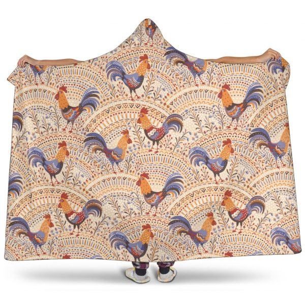 Cute Rooster Floral Pattern Hooded Blanket