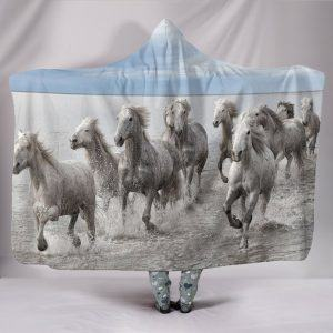 Group of White Horse Running Hooded Blanket