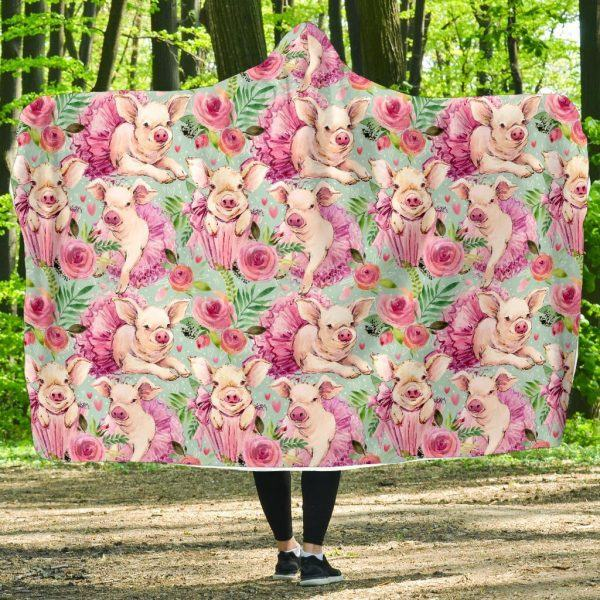 Hand Drawing Pig and Rose Pattern Hooded Blanket
