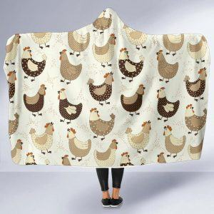 Hens and Roosters Printed Hooded Blanket