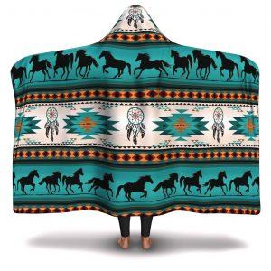 Horse Native American Pattern Hooded Blanket