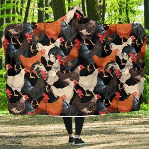 Many Types of Chickens Hooded Blanket