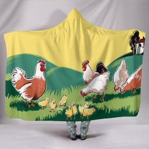 Painting Chicken Family Hooded Blanket