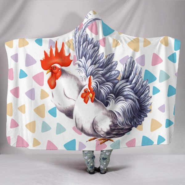 Rainbow Cute Hen and Rooster Hooded Blanket
