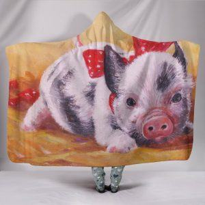 Realistic Pig Painting Hooded Blanket