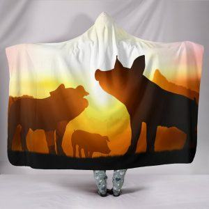 Three Pigs in Sunset Hooded Blanket