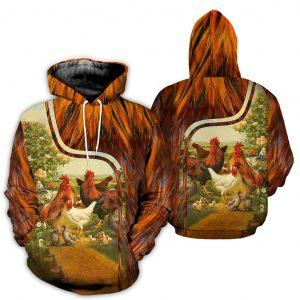 Beautiful Flock of Chicken 3D Full Print Hoodie