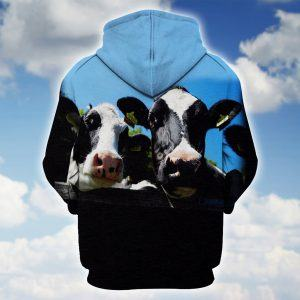 Couple of Holstein Cows 3D Hoodie Back