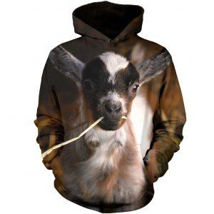 Cute Baby Goat Eating Straw 3D Hoodie