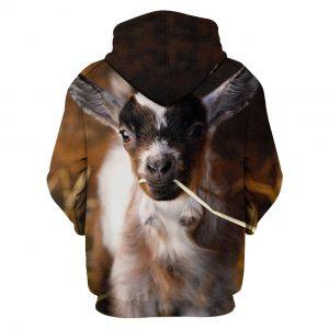Cute Baby Goat Eating Straw 3D Hoodie back