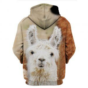 Cute White Baby Goat 3D Hoodie BACK
