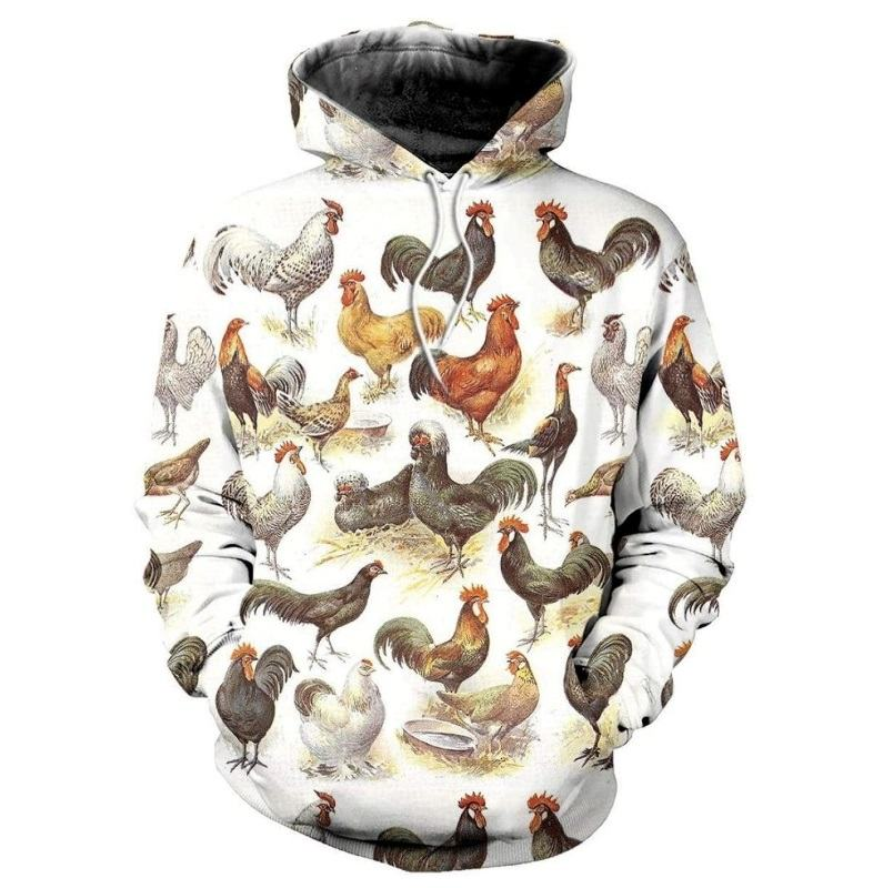 Different Breeds of Chickens 3D Full Print Hoodie
