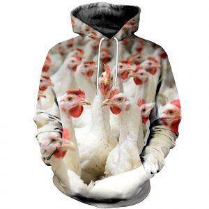 Flock of White Chickens 3D Hoodie