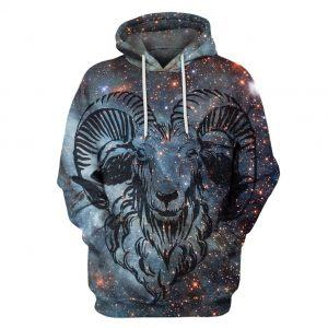 Goat in Night Galaxy 3D Hoodie