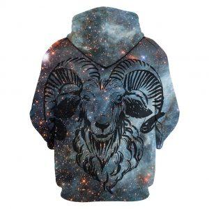Goat in Night Galaxy 3D Hoodie back