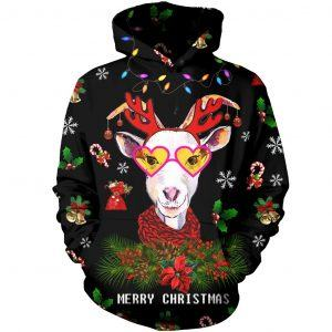 Merry Christmas Cute Goat with Reindeer 3D Hoodie