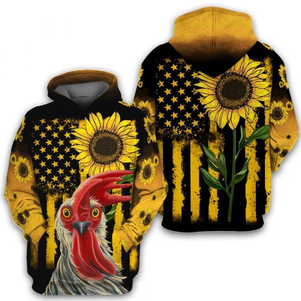 Rooster Chicken and Sunflower All Over Print 3D Hoodie