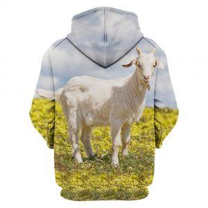 White Goat in the Field 3D All Over Print Hoodie