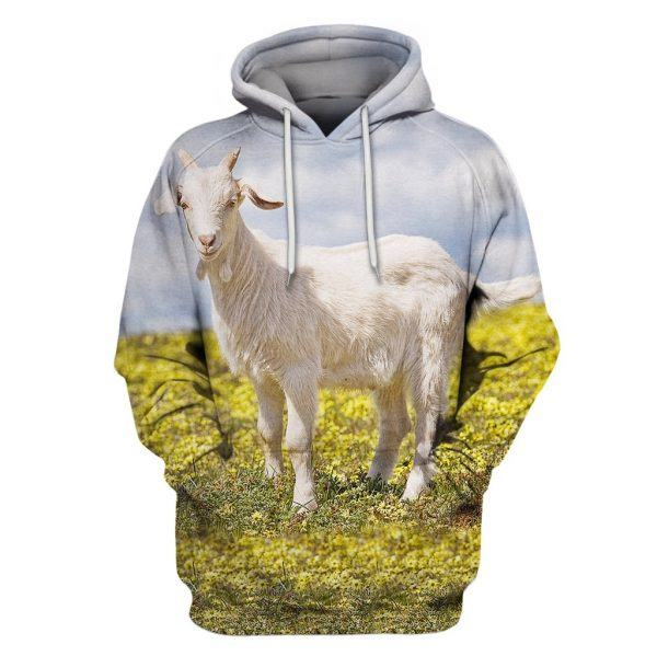 White Goat in the Field 3D All Over Print Hoodie back