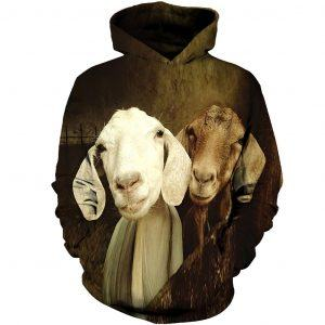 White and Brown Goats 3D Hoodie