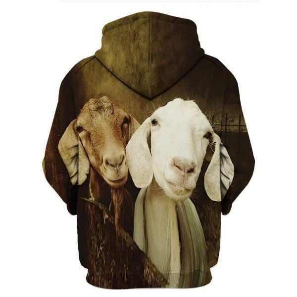 White and Brown Goats 3D Hoodie back