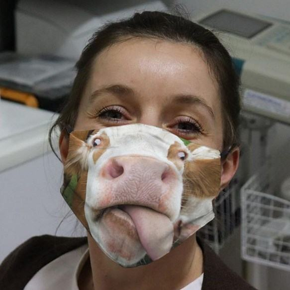 Funny Cow Face Mask Face Cover