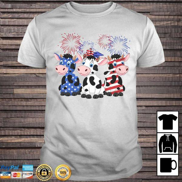 American Flag Fourth of July Cow Shirt